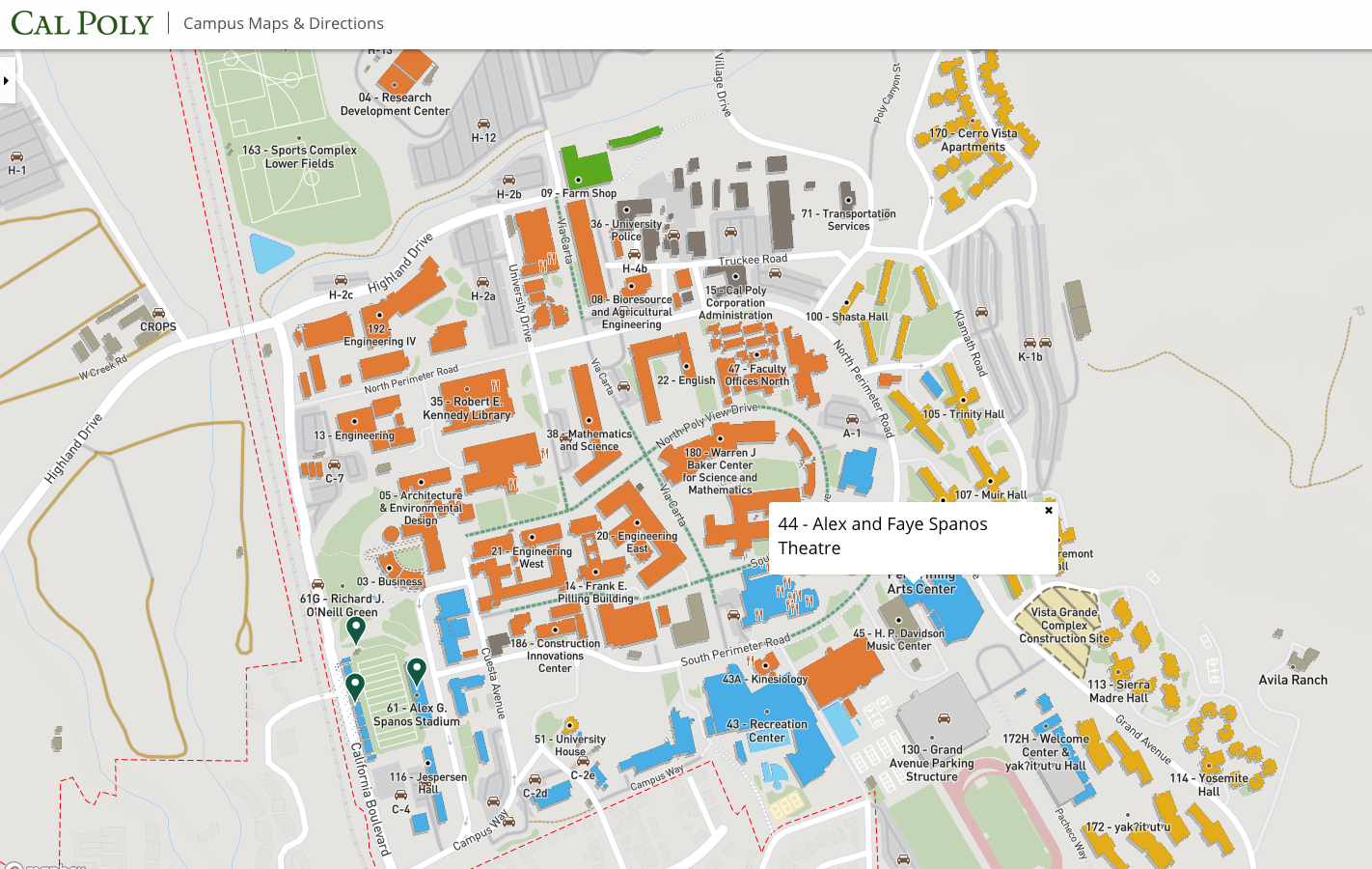 campus map cal poly Location And Loading Spanos Theatre Cal Poly San Luis Obispo campus map cal poly