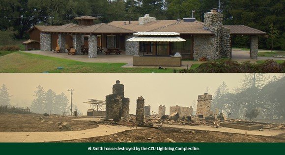 Al Smith House impacted by CZU Lightning Complex Fire at Swanton Pacific Ranch