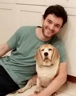 Mateo Ibarguen in kitchen with dog