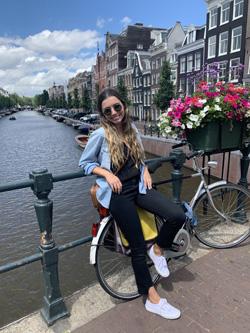 Natalie Keelan on a bridge in Europe