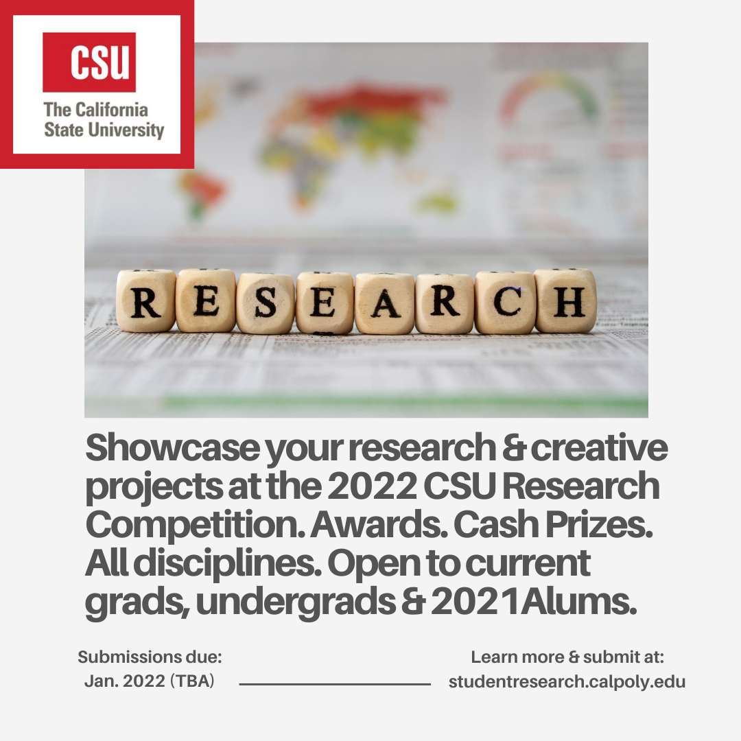 Showcase your research & creative projects at the 2022 CSU Research Competition. Awards. Cash Prizes. All disciplines. Open to current grads, undergrads & 2021Alums.