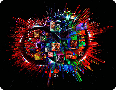 colorful burst image with people and Adobe Creative Cloud apps