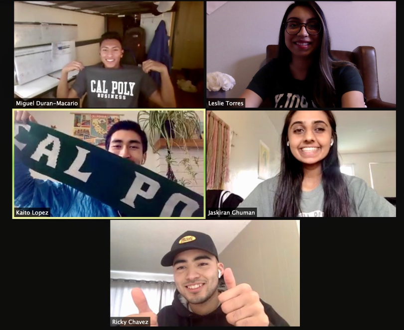 5 students smiling in a zoom screen shot