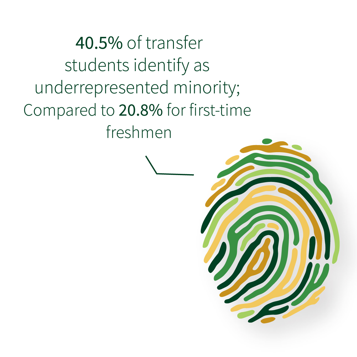 40.5% of transfer students identify as underrepresented minority; compared to 20.8% of first-time freshman