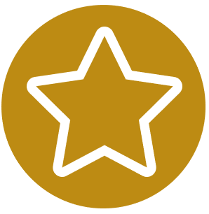 gold circle with a star outline inside of it