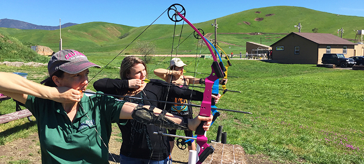 Students practicing archery.