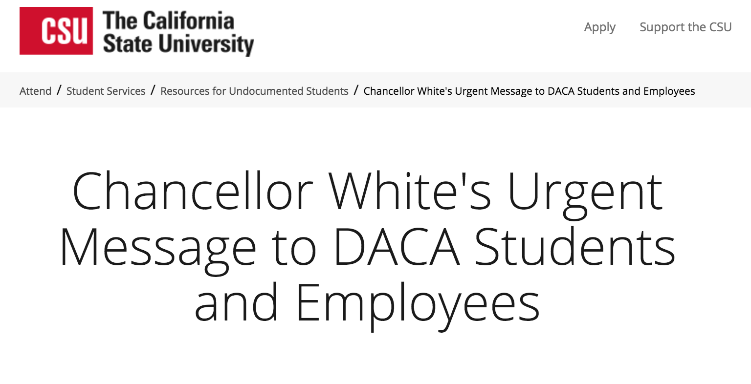 "Chancellor White's ""Urgent Message to DACA Students and Employees"" (9/14/17) and other Local & National Updates"
