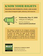 W 5/27/20, 4:10-5pm Know Your Rights Training for Students, Staff, and Allies