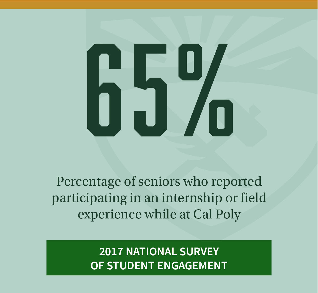 65%. Percentage of seniors who reported participating in an internship or field experience while at Cal Poly. Click to review more Cal Poly student responses in the 2017 National Survey of Student Engagement.