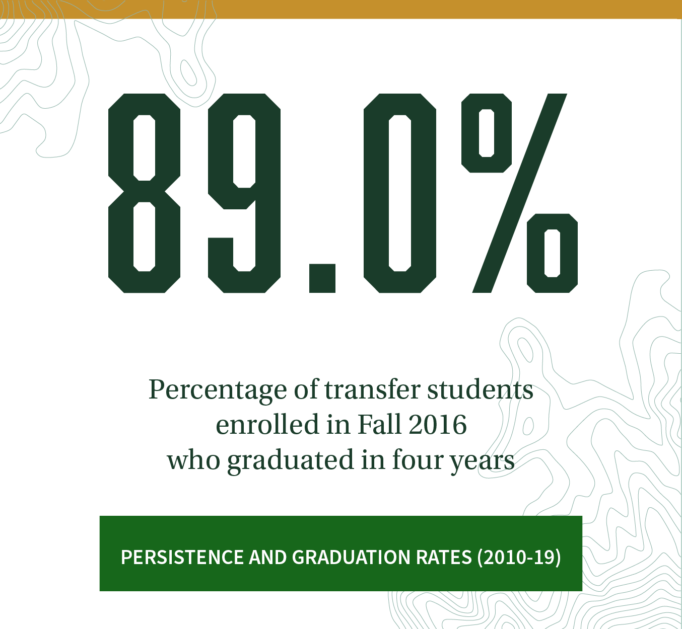 89.0% Percentage of transfer students enrolled in Fall 2016 who graduated in four years. Click to review more persistence and graduation rate trends (2003-20).