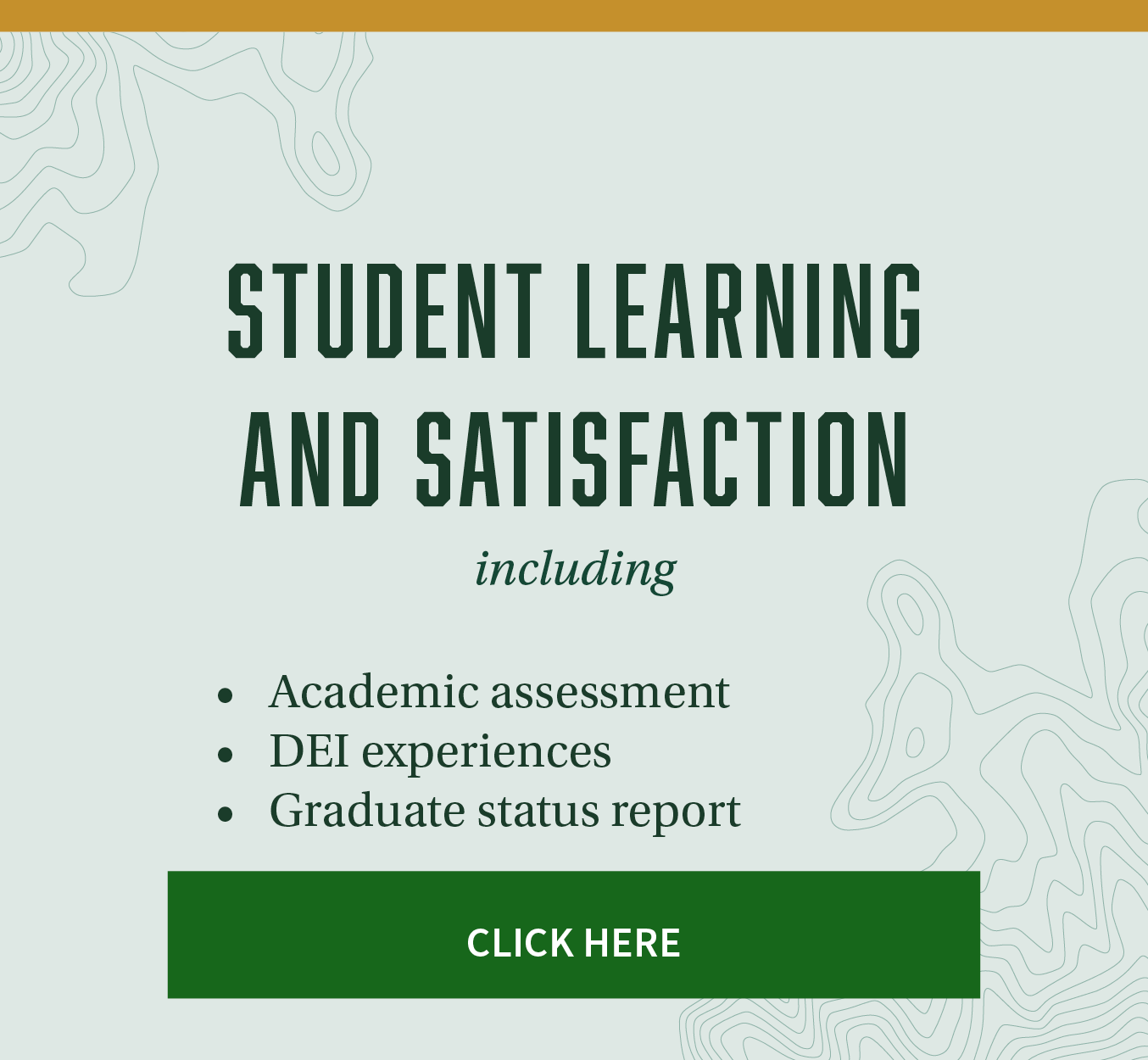 Student learning and satisfaction - including academic assessment, DEI experiences, graduate status report. Click here