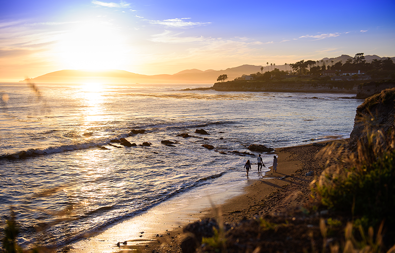 Cal Poly is situated on the Central Coast; here, students enjoy the sunset at a local beach.