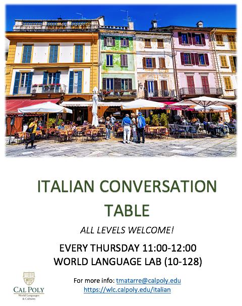 Italian Conversation Group flyer