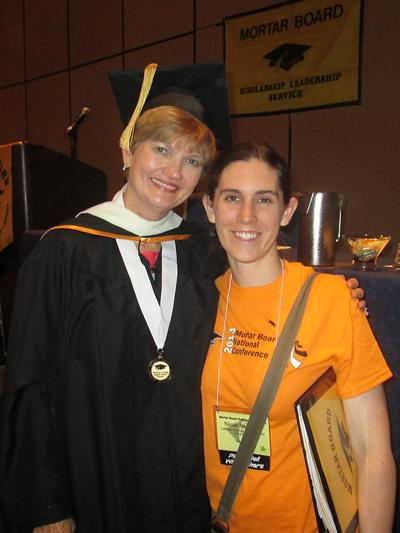 Nicole Beaudoin and Susan Caples, Mortar Board president