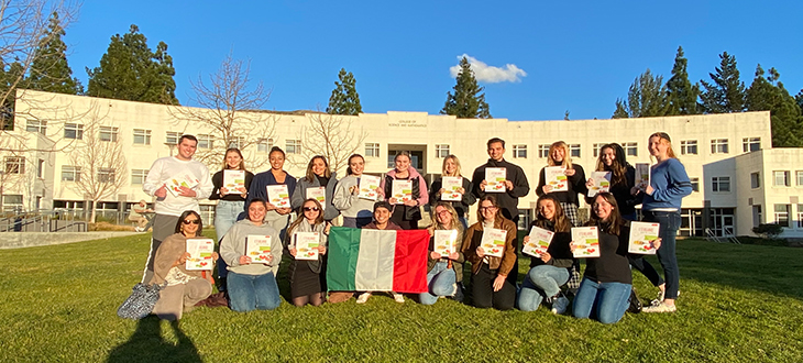 Italian 202 students with their donated textbooks