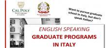 English Speaking Graduate Programs in Italy